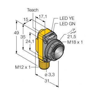 QS18EP6DQ8 – Czujnik fotoelektryczny, czujnik odbiciowy – 71995